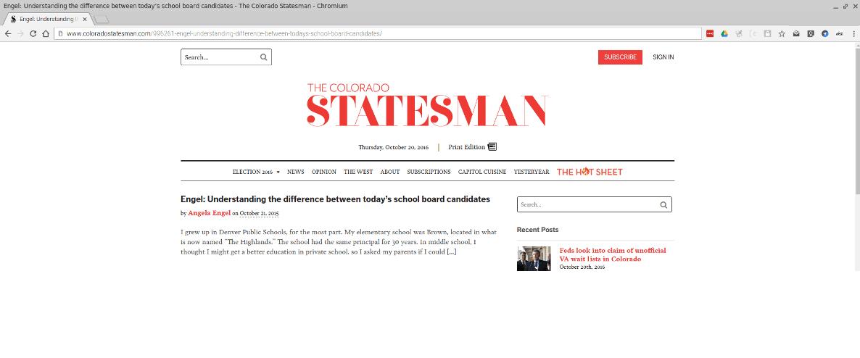 Colorado Statesman article by Angela